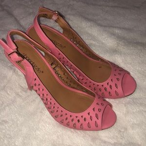 Rose open toed heels